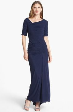Free shipping and returns on Tadashi Shoji Asymmetrical Ruched Mesh Gown (Regular & Petite) at Nordstrom.com. Off-center ruching enhances the flattering silhouette of a mesh gown with a wide, asymmetrical neckline and a gently pleated skirt that sweeps into an elegant train in the back.