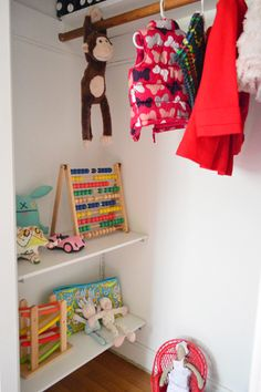Make a play-nook in a kids closet (most of the clothes are in the dresser)