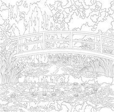 The Water Lily Pond by Claude Monet: adult coloring page Claude Monet, Wall Art Prints, Poster Prints, Canvas Prints, Framed Prints, Kandinsky, Monet Water Lilies, Free Adult Coloring Pages, Free Coloring