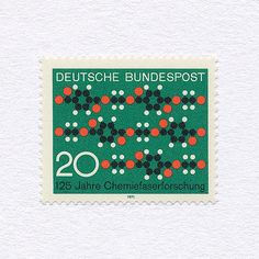 125th Anniversary of Synthetic Textile Fibre Research (20). West Germany, 1971. Design: Karl Oskar Blase. #mnh #graphilately