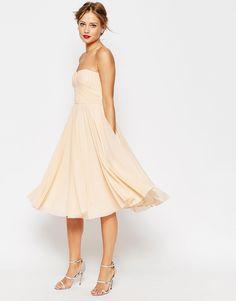 Image 1 ofASOS WEDDING Ruched Bodice Bandeau Midi Dress