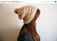 BLACK FRIDAY SALE Hand Knit Taupe Cable Hat by YarnPlusYarn