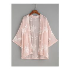 SheIn(sheinside) Pink Flower Embroidered Kimono ($17) ❤ liked on Polyvore featuring intimates, robes, pink, beach kimono, pink robe, chiffon kimono, pink kimono and chiffon robe
