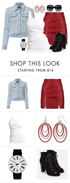 """A Denim Jacket & A Red Leather Skirt!"" by melissa-markel ❤ liked on Polyvore featuring J Brand, Boohoo, Soaked in Luxury, Rosendahl and JustFab"