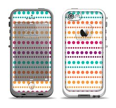 The Colorful Polka Dots on White Apple iPhone 5-5s LifeProof Fre Case Skin Set