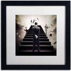 Trademark Fine Art Waiting for the Green Light Canvas Art by Erik Brede, White Matte, Black Frame, Size: 16 x 16