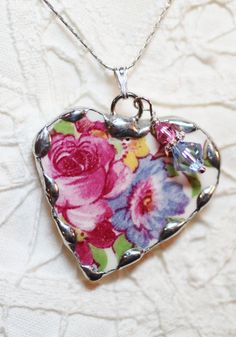 Broken China Jewelry Pendant Necklace Heart English Floral Chintz - Sterling Silver Chain Included