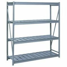 "Bulk Storage Rack Starter, 4 Tier, Ribbed Decking, 96""Wx48""Dx96""H Gray by LYON WORKSPACE PRODUCTS. $830.00. Bulk Storage Rack Starter, 4 Tier, Ribbed Decking, 96""Wx48""Dx96""H Gray Heavy gauge steel uprights and beams. Adjustable on 1-1/2"" centers. 1650-3300 lbs. capacity per pair of beams. Weight Capacity based on evenly distributed load. 10,000 lbs. per upright assembly."
