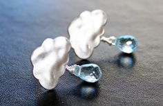 Rain and Cloud Post Earrings with Blue Topaz Drops. Bridesmaid Earrings. Bridesmaid Gift. Wedding Gift. Bridal Jewerly. Gift for Her.. $29.00, via Etsy.