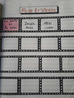 Mon bujo  page film et vidéos... #idées #inspirations #bujo #BulletJournal