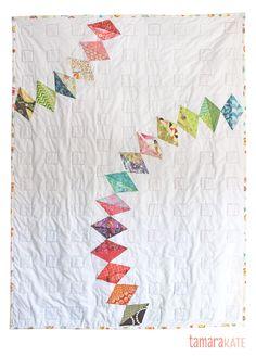 Rainbow Charm quilt back by Tamara Kate of Kayajoy