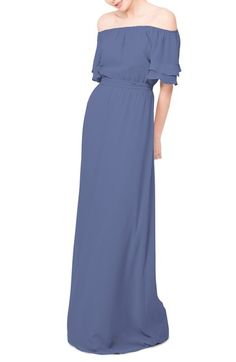 Ceremony by Joanna August 'Maggie' Off the Shoulder Chiffon Gown available at #Nordstrom