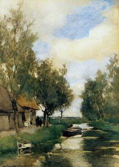 """Farm on Polder Canal"" - Johan Hendrik Weissenbruch (1824 - 1903, Dutch)"