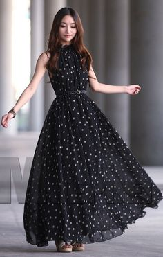 Womens vintage chiffon Polka Dot sleeveless Evening Ball Gown Long Maxi Dress    #YSF #Ballgown #Party
