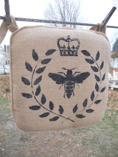 Burlap Chair Pad  2 inch foam  Made To Order by GreenMountainBoHo@etsy.com