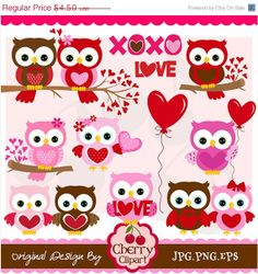 Easter Sale Valentine's Day Sweet Owls digital by Cherryclipart, $2.48
