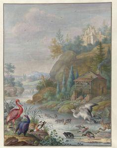 Birds near a Mountain Stream, Herman Henstenburgh, c. 1683 - c. 1726
