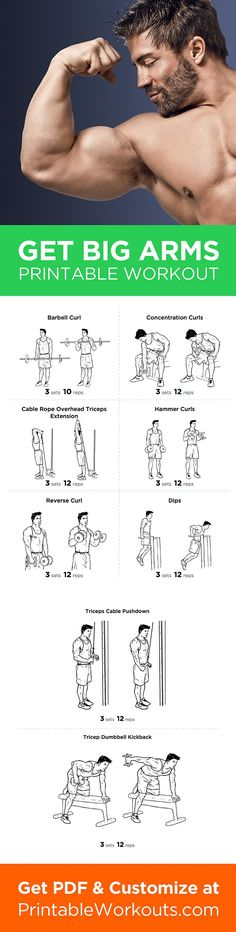 Printable Workout to Customize and Print: Big Arms Workout: Biceps and Triceps Exercises Routine http://papasteves.com