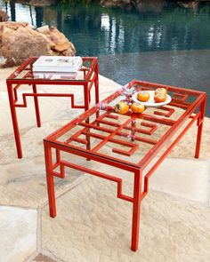 Red Fretwork Coffee Table - traditional - coffee tables - - by Horchow Find Furniture, Outdoor Furniture Sets, Outdoor Decor, Outdoor Tables, Outdoor Ideas, Patio Tables, Outdoor Rooms, Outdoor Dining, Side Tables