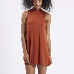Topshop burnt orange high neck dress US8 worn once Topshop high/funnel neck sleeveless dress in burnt orange. worn once. US 8, EUR 40, UK 12. very stretchy, bouncy material. Topshop Dresses Mini