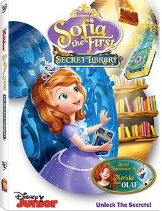 Sofia the First: The Secret Library presents 4 episode of the Disney Junior series on DVD, featuring Olaf from Frozen and Merida from Brave. Walt Disney, Disney Jr, Disney Junior, Disney Movies, Disney Frozen, Olaf, Princess Sofia The First, Sara Ramirez, Disney Secrets