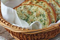 Roasted Garlic Bread with Romano cheese, fresh Italian parsley and 3 entire bulbs of garlic.