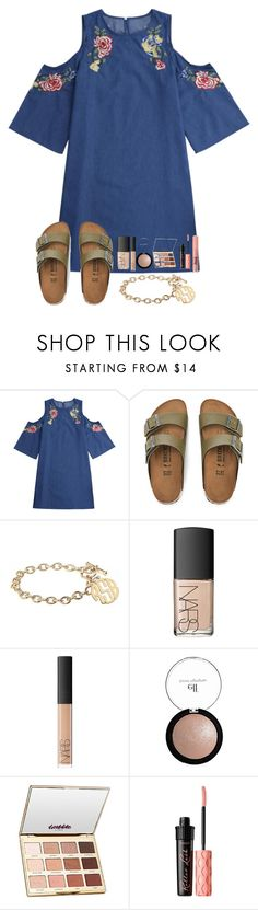 """""""just got home from church"""" by kellycarrick ❤ liked on Polyvore featuring Birkenstock, Alison & Ivy, NARS Cosmetics, e.l.f., tarte, Benefit and Too Faced Cosmetics"""