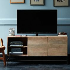Rustic Storage Media Console – Large #westelm. But hang TV on wall and put ceramics, books etc. on top