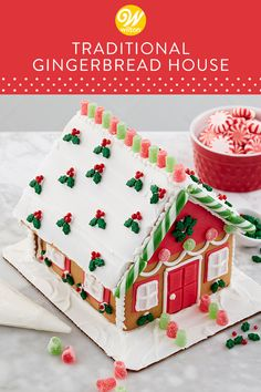 Upscale icing techniques, fondant details and colorful candy decorating add trendy style and excitement to these designs. Decorate this house to display with the gifts under the Christmas tree.  #wiltoncakes #gingerbreadhouse #gingerbreadhousetechniques #gingerbreadhouseparty #gingerbreaddesign #3D #christmas #gingerbreadhouses #tradition #candy #icing
