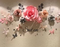 Nursery Decor - Nursery Paper Flower Art - Nursery Wall Decals - Baby Girl Nursery Decor (code:#122)