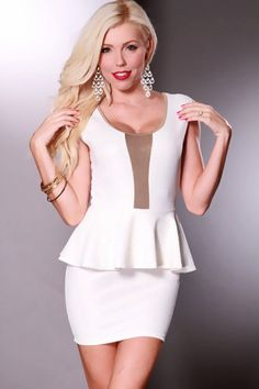 White Multi Shimmer Print Sheer Center Detailing Peplum Dress @ Amiclubwear sexy dresses,sexy dress,prom dress,summer dress,spring dress,prom gowns,teens dresses,sexy party wear,women's cocktail dresses,ball dresses,sun dresses,trendy dresses,sweater dres