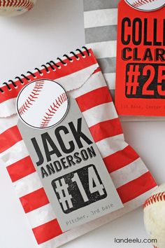 Baseball Goodie Bags Idea - landeelu.com Perfect for the end of the year banquet or a baseball themed birthday party!