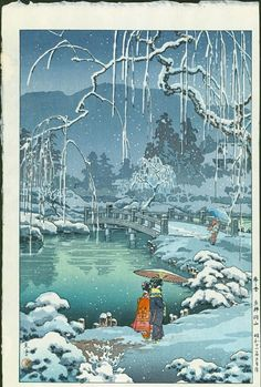 Artist: Tsuchiya Koitsu Spring Snow at Maruyama Park, 1936 Size: Oban. Approximately 17.0 x 11.25 inches Publisher: Doi Medium: Japanese Woodblock Print