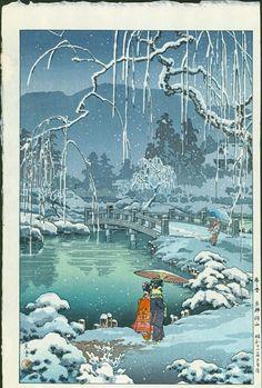Artist: Tsuchiya Koitsu Spring Snow at Maruyama Park, 1936 Size: Oban. Approximately 17.0 x 11.25 inches Publisher: Doi Medium: Japanese Woodblock Print