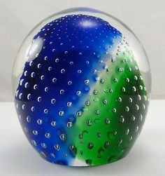 Paperweight Clear Glass Dome Blue Green
