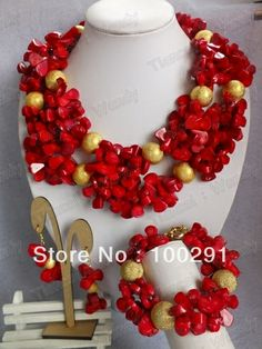 Coral Jewelry Set Coral Necklace Bracelet Earring Set for African Wedding Bridal $75.45