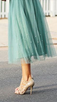 Beautiful Light Blue Tiffany Midi Tulle Skirt.