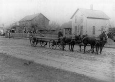 Broadway at West Avenue 1892, Beaverton, Oregon    Edward Squires residence on the right.  Squires' Carriage and Blacksmith Shop on left....  Beaverton Is currently the third largest city in Oregon
