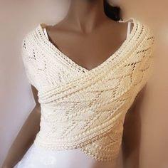 Cotton Vest Shrug Sweater Handknit size SXL Choose the by Pilland