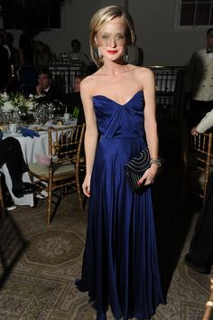 #ball #fashion Rich, glossy navy blue looks beautiful against almost all skintones.
