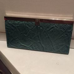 Teal snakeskin wallet Teal snakeskin print wallet with Tiffany blue inside. Bags Wallets