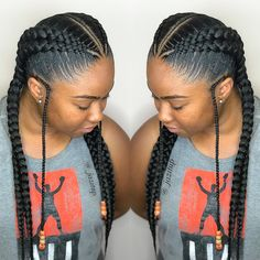 Image may contain: 2 people, closeup – Best Hair Style Models Feed In Braids Hairstyles, Braided Hairstyles For Black Women, Braids For Black Hair, Kid Hairstyles, Braids For Black Women Cornrows, American Hairstyles, Girls Braids, 2 Big Braids, 2 Cornrow Braids