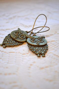 Retro Owl Earrings  Antique Brass  Funky Whimsical by GlassPoppies, $14.00