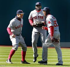 Brock Holt, Jackie Bradley Jr, Mookie Betts, BOS//Opening Day at CLE, April 5, 2016