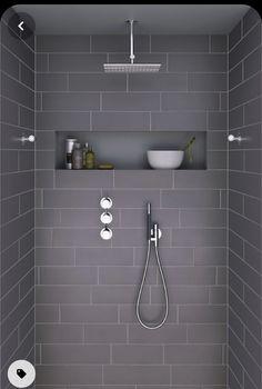 Grey Bathrooms, White Bathroom, Modern Bathroom, Small Bathroom, Master Bathroom, Bathroom Ideas, Relaxing Bathroom, White Shower, Bathroom Layout