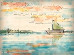 Boat, Water and Clouds. Scenery Done! Made using Paper by 53 app on an iPad Over The Years, My Drawings, Scenery, Ipad, Clouds, Paper, Landscape, Paisajes, Nature