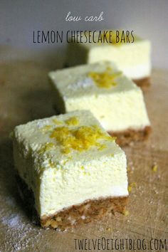 Carb Lemon Cheesecake Bars via Low Carb Sweets, Low Carb Desserts, Just Desserts, Low Carb Recipes, Dessert Recipes, Lemon Cheesecake Bars, Low Carb Cheesecake, Lemon Bars, Cheescake Bars