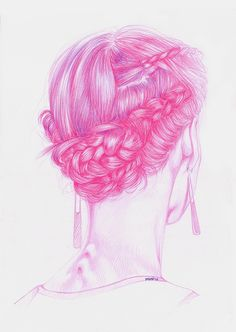 """artforadults: """" florencia mir will also make a header for AFA! and I'm pretty stoked with that! florenciamir: """" Another one of the fashion illustration series. More to come shortly! Redhead Art, Hair Illustration, Instagram Prints, Hair Color Pink, Color Pencil Art, Pink Art, Painting & Drawing, Fine Art Prints, Vibrant"""