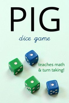 Dice game Fun and simple Pig dice game teaches probabliity<br> Play the pig dice game! 6 different ways to enjoy this simple and fun game of jeopardy that teaches math, probability and rewards turn taking! Fun Math Games, Dice Games, Activity Games, Activities For Kids, Probability Games, Party Games, Multiplication, Articulation Activities, Indoor Activities