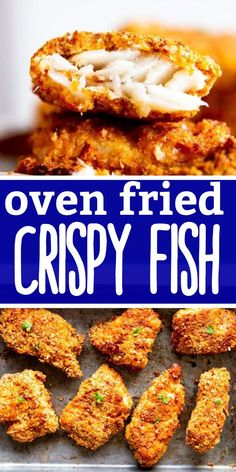 So much better than frozen fish sticks! This Crispy Oven Fried Fish gets super crunchy and will be a new favorite for kids and adults alike. A great meal for lent, too! | #fisheasyrecipe #easyfishrecipes #dinnerideas #easydinner #easydinnerrecipes #healthydinnerrecipes #dinnerrecipeseasy #easyrecipe #easyrecipesforbeginners Best Fish Recipes, Fried Fish Recipes, Easy Chicken Recipes, Meat Recipes, Cooking Recipes, Oven Fried Fish, Crispy Oven Fries, Fries In The Oven, Fish Fry